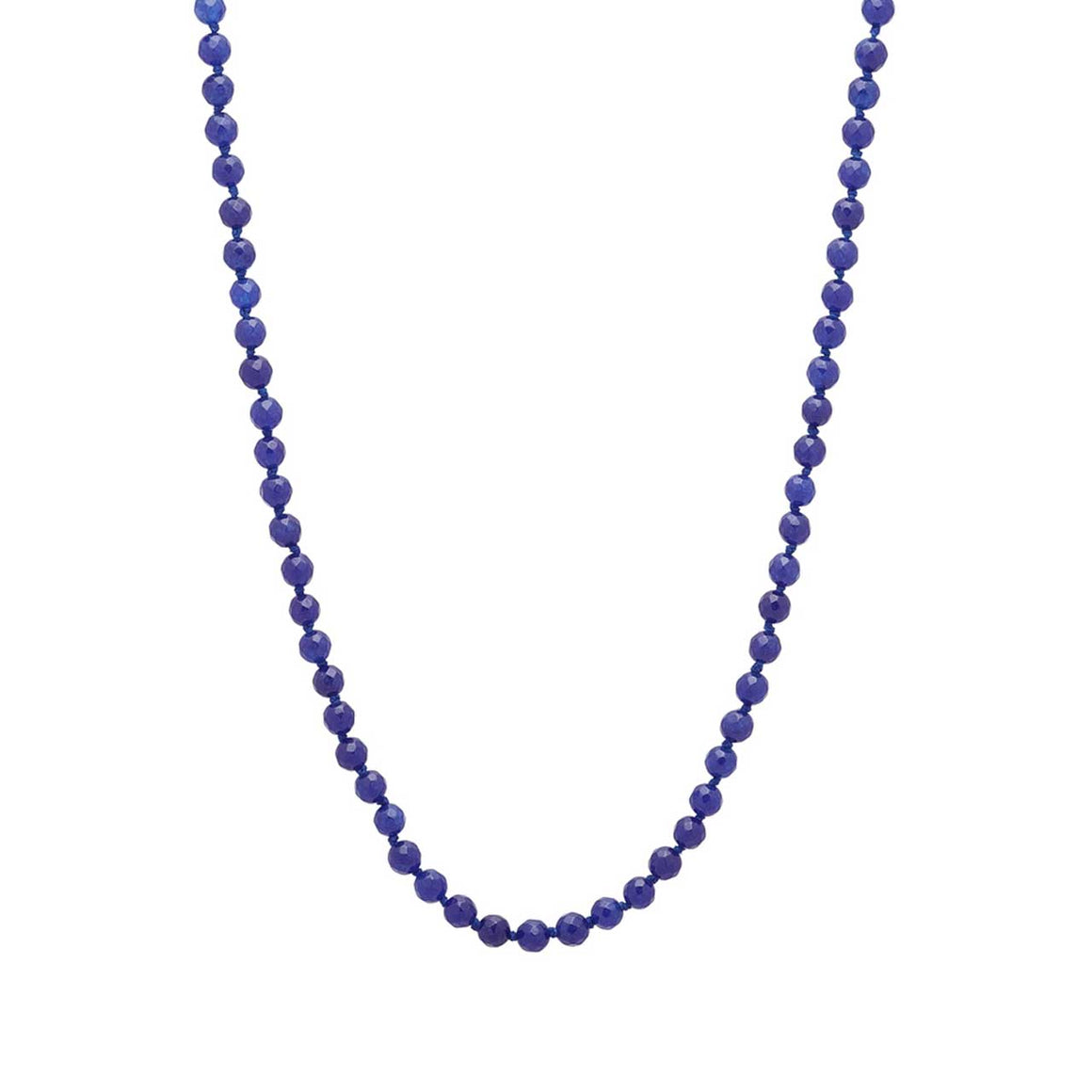 Navy Colored Quartz Gemstone Beaded Necklace 20""