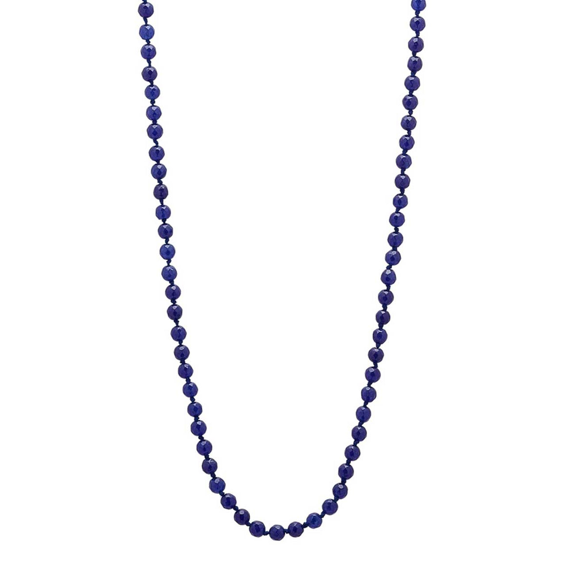 Navy Colored Quartz Gemstone Beaded Necklace 36""