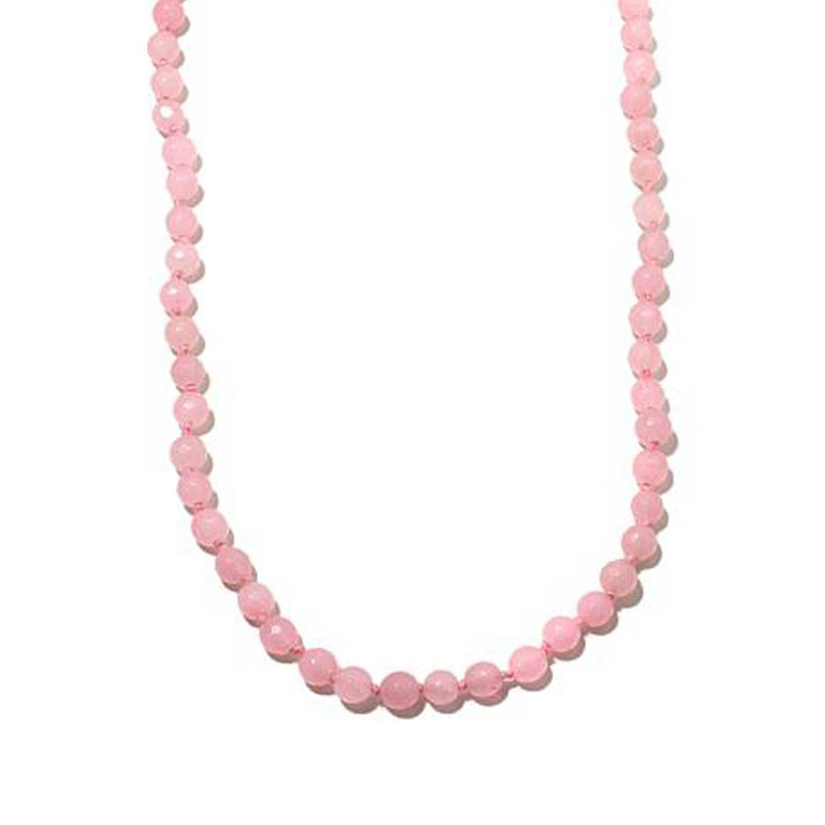 Pink Chalcedony Gemstone Beaded Necklace 20""