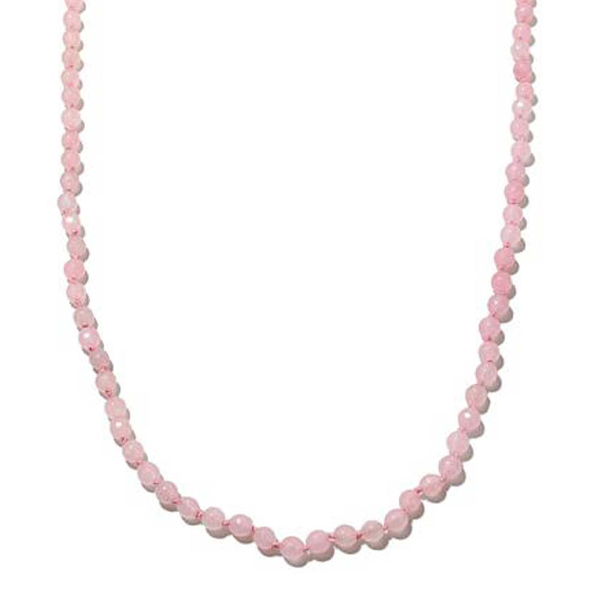 Pink Chalcedony Gemstone Beaded Necklace 36""