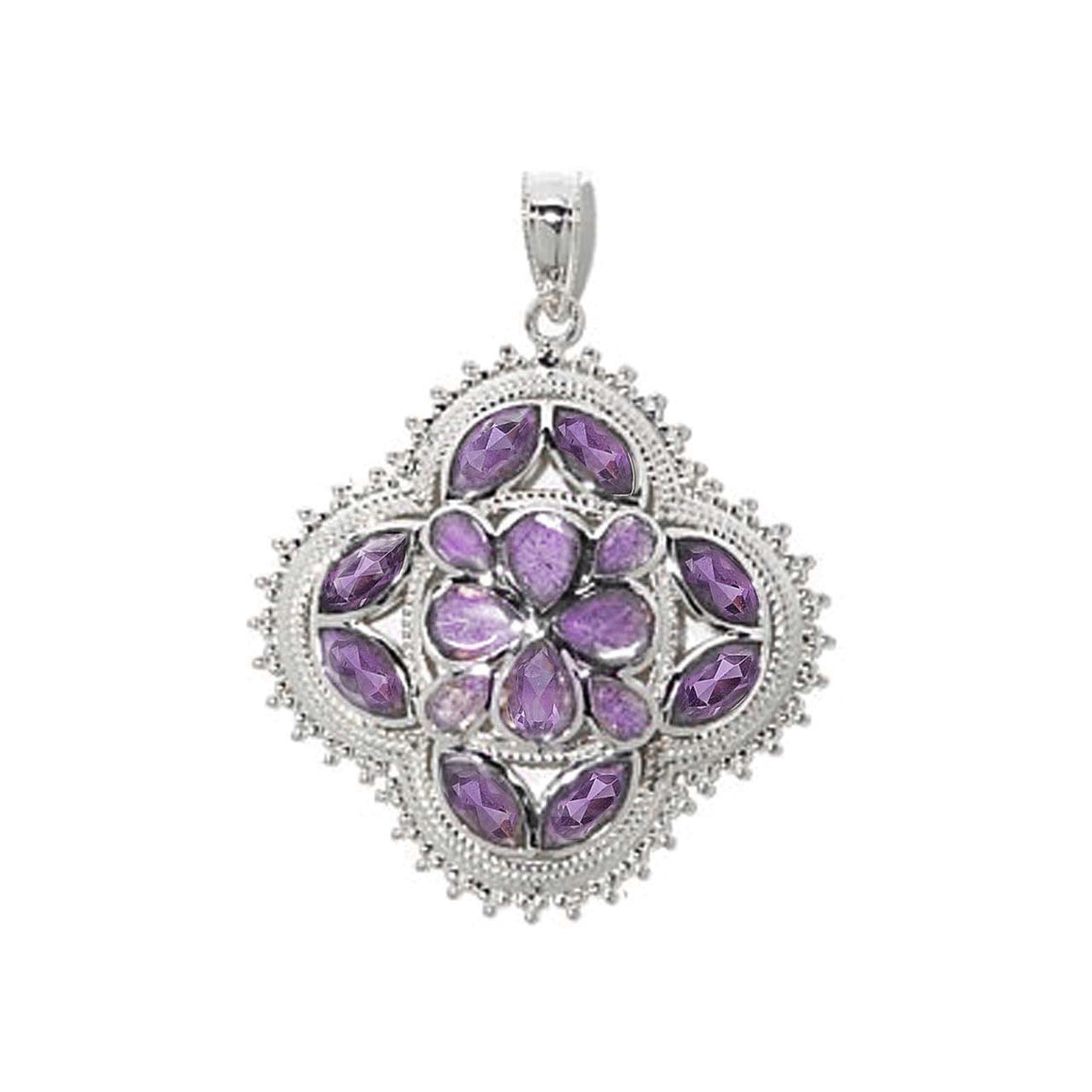Amethyst Clover Shaped Pendant