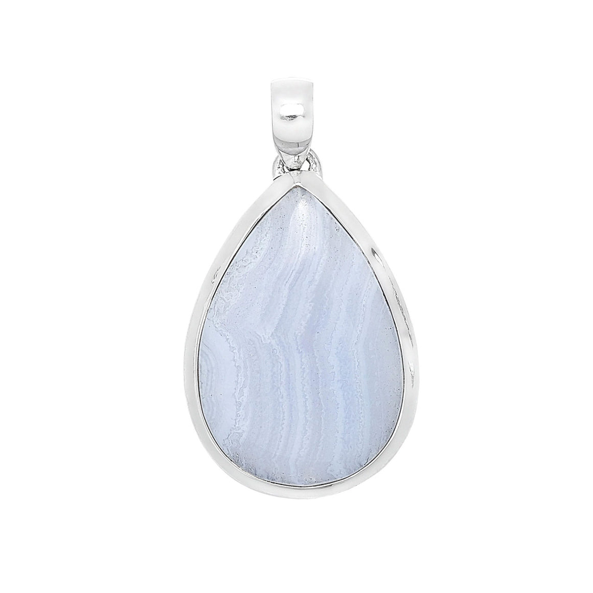 Sterling Silver Blue Lace Agate Pendant