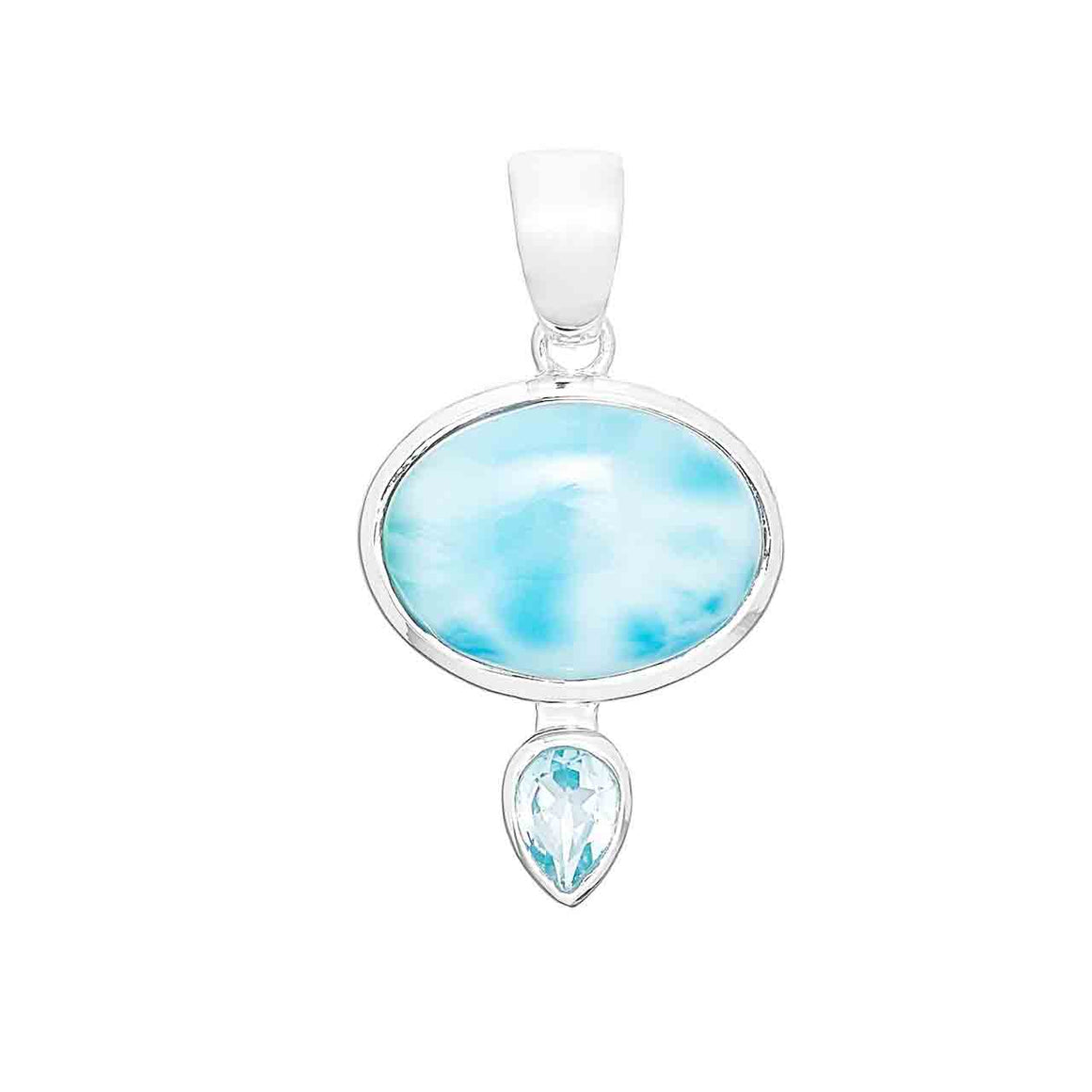 Larimar Oval and Blue Topaz Pendant