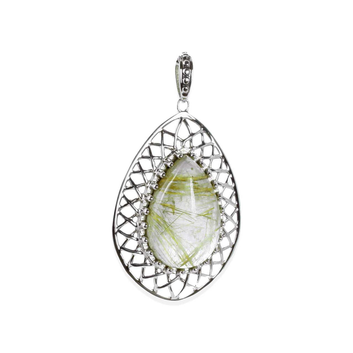 Golden Rutilated Quartz Lattice Pendant