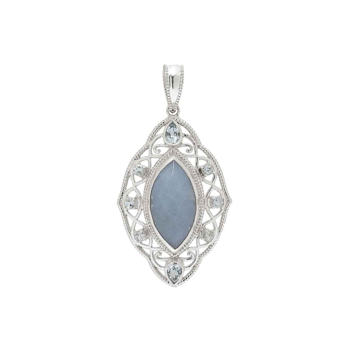 Angelite and Blue Topaz Pendant