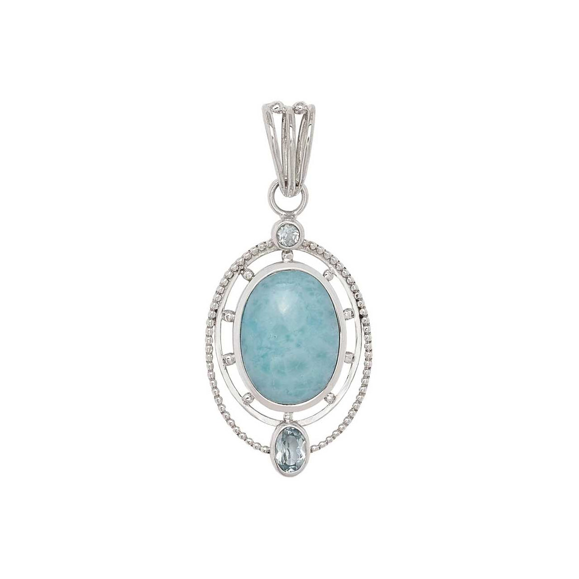 Larimar and Blue Topaz Oval Pendant