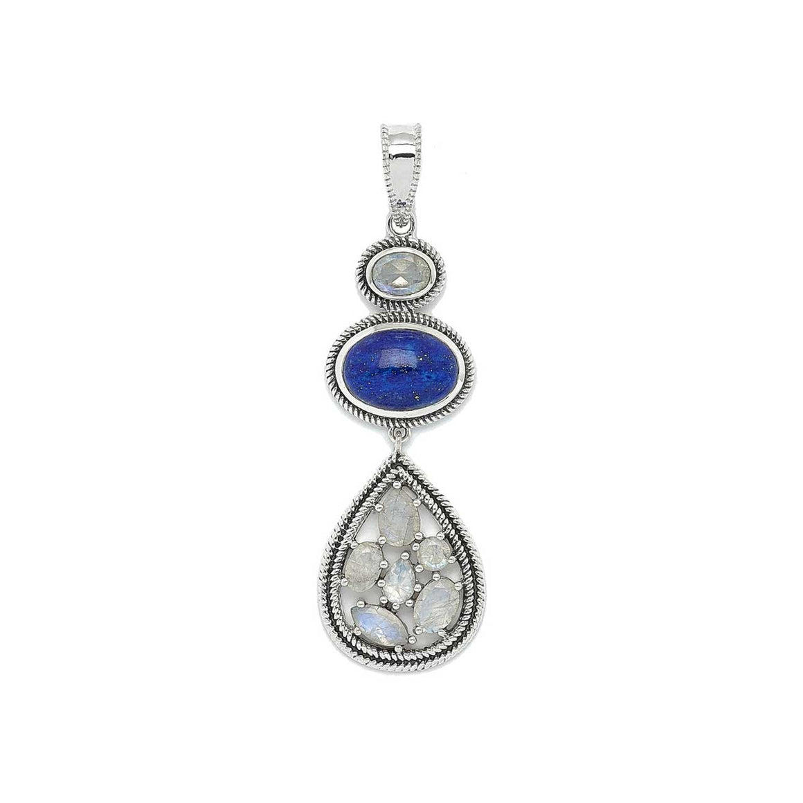 Lapis and Rainbow Moonstone Drop Pendant