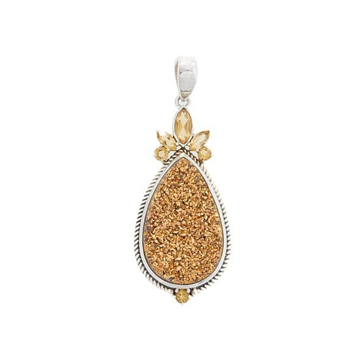Gold Drusy and Citrine Pendant