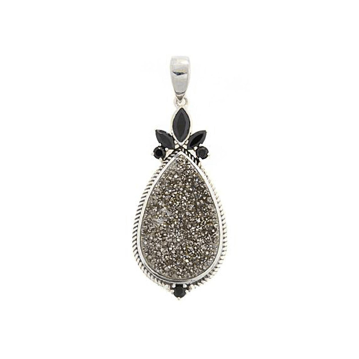 Black Drusy and Black Spinel Pendant