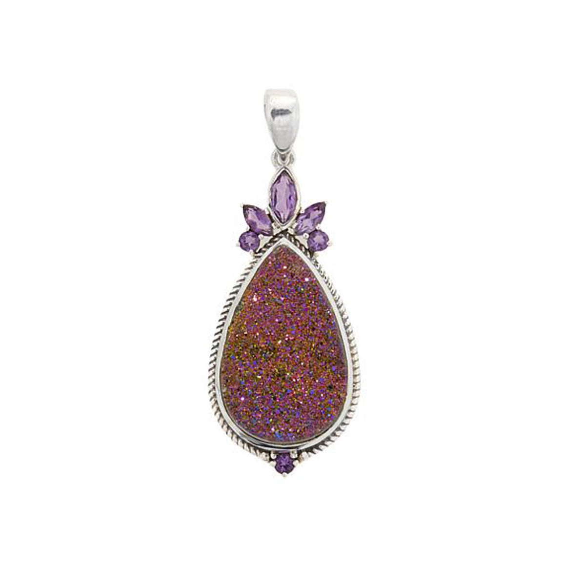 Copper Pink Drusy and Amethyst Pendant