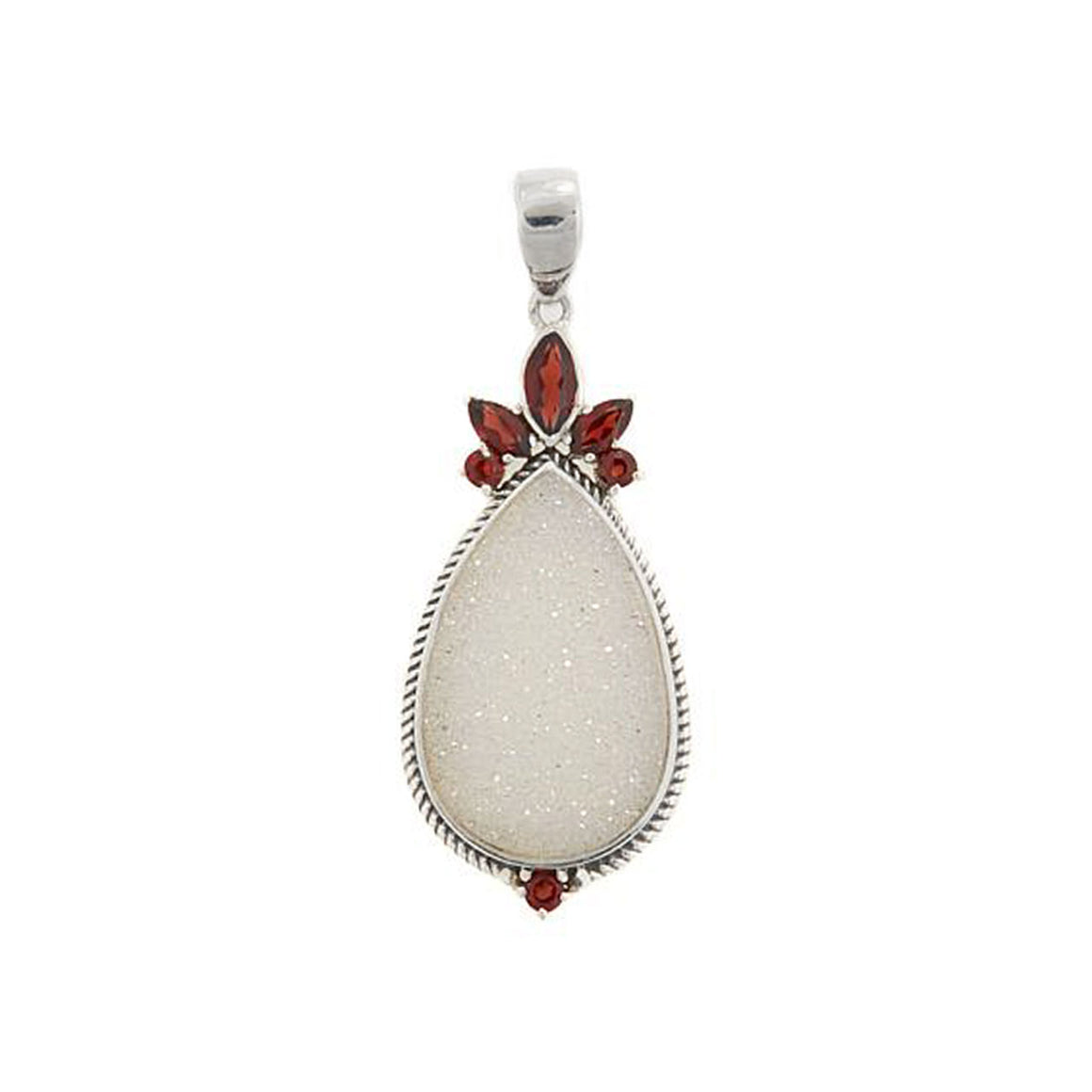 White Pearl Drusy and Garnet Pendant