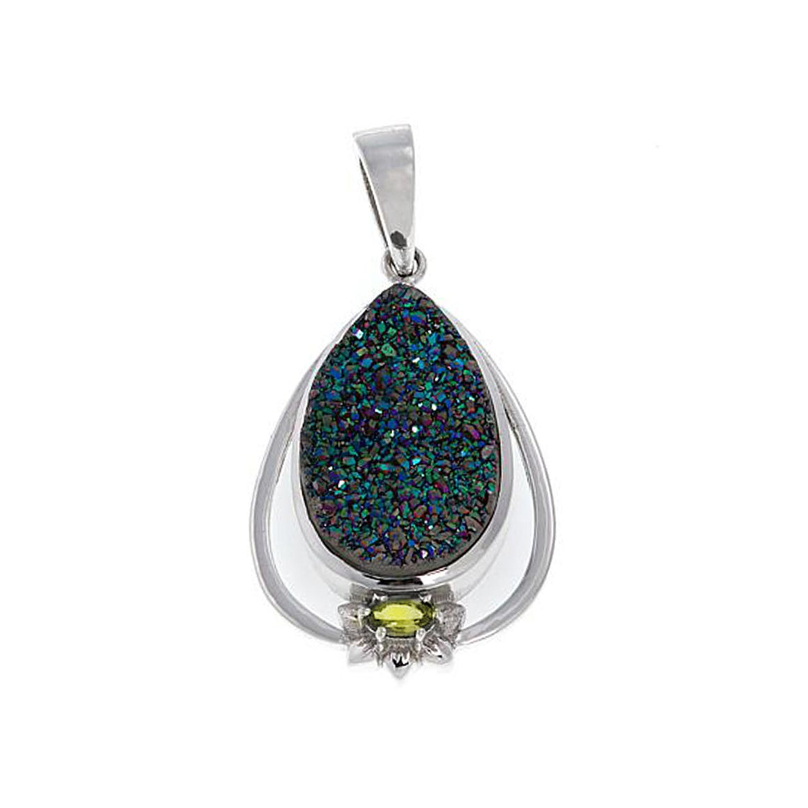 Green Drusy and Peridot Pendant