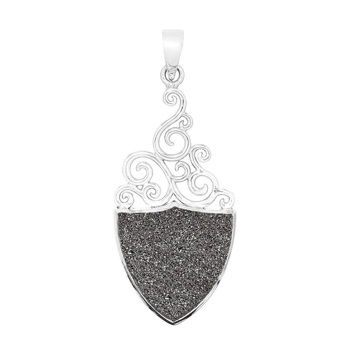 Platinum Coloured Drusy Pendant