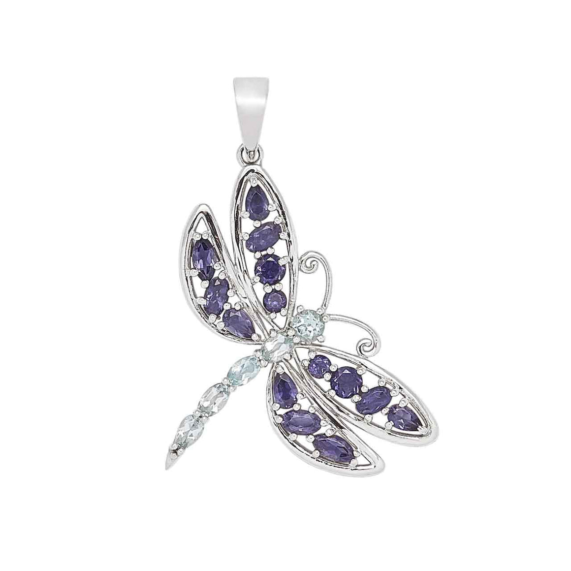 Iolite and Blue Topaz Dragonfly Pendant