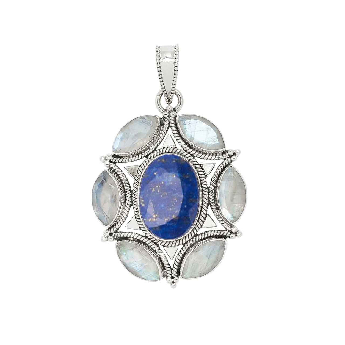 Faceted Lapis and Rainbow Moonstone Pendant