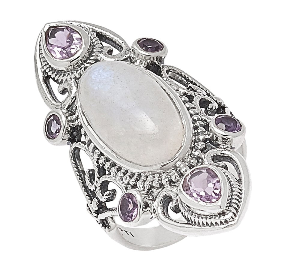 Rainbow Moonstone and Amethyst Bold Oval Ring
