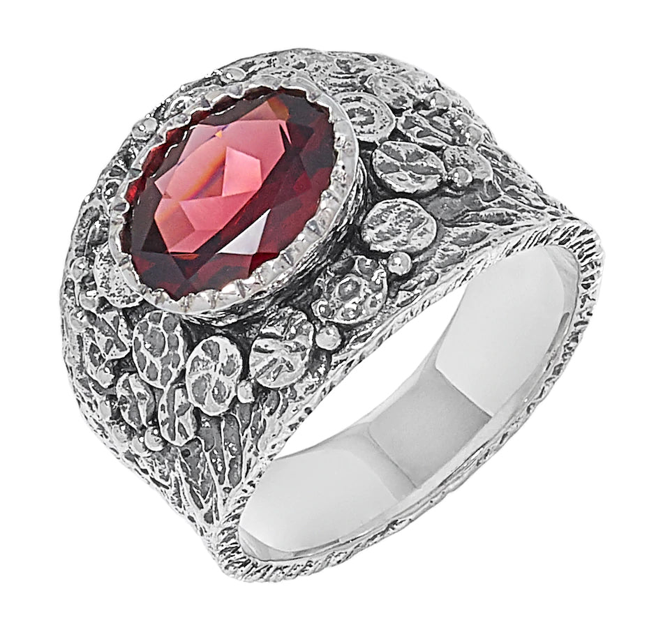 Garnet Oval Textured Ring