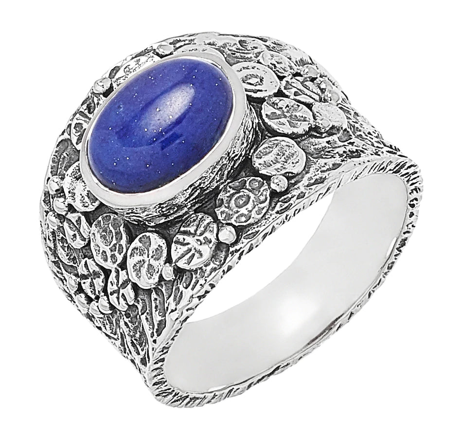 Lapis Oval Textured Ring