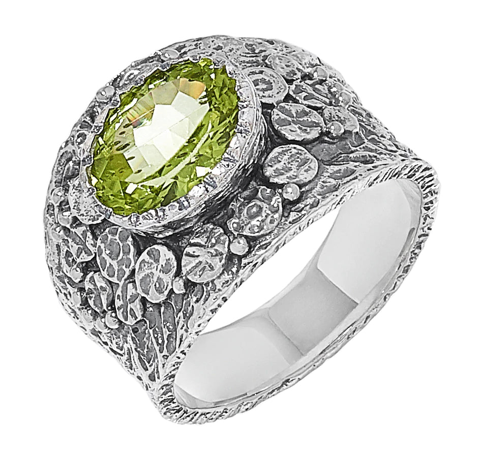 Peridot Oval Textured Ring