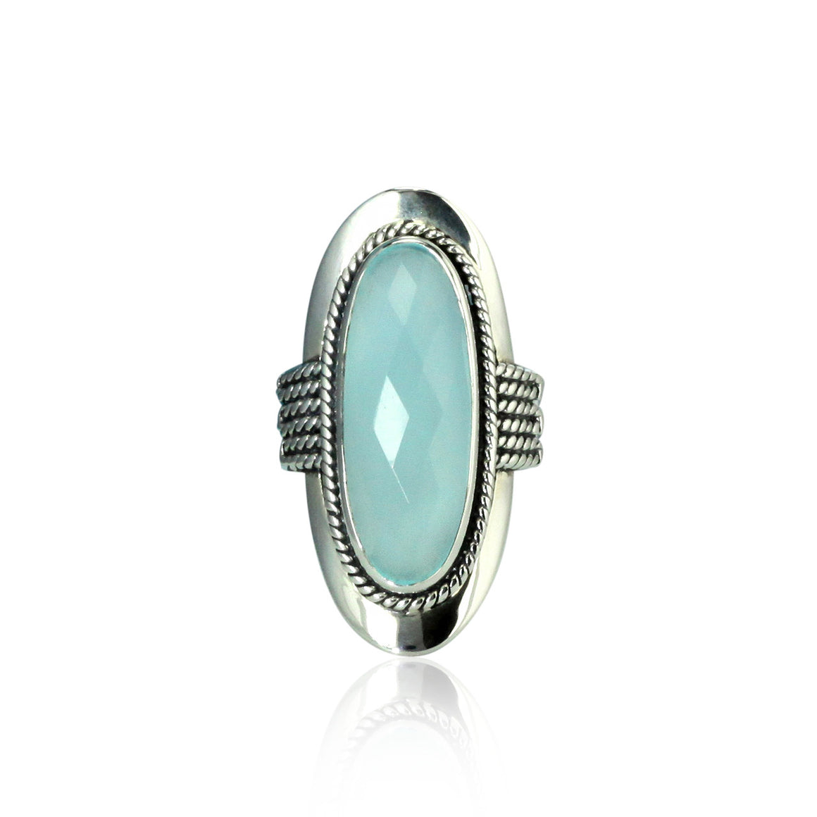 Aqua Chalcedony Saddle Ring