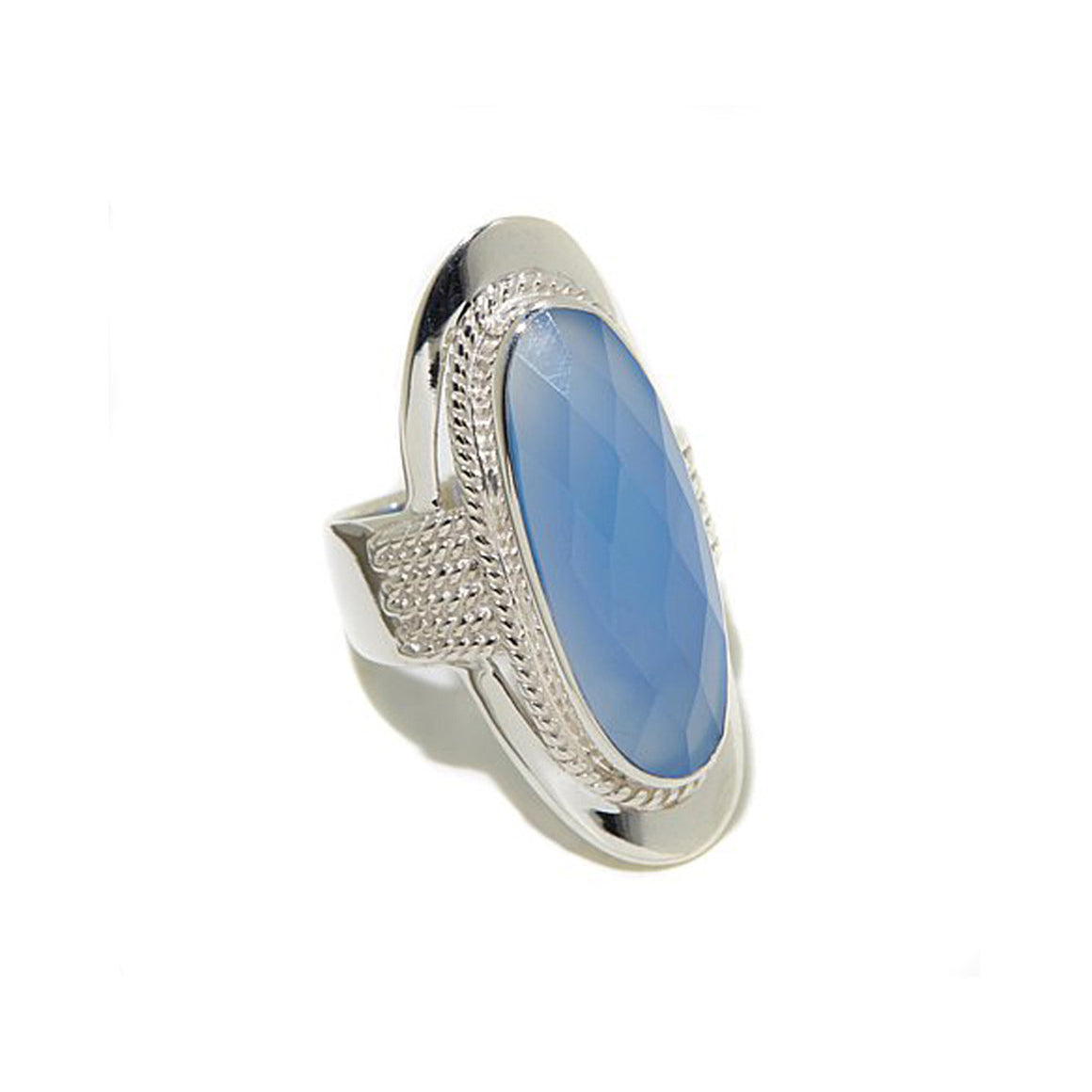 Sky Blue Chalcedony Saddle Ring