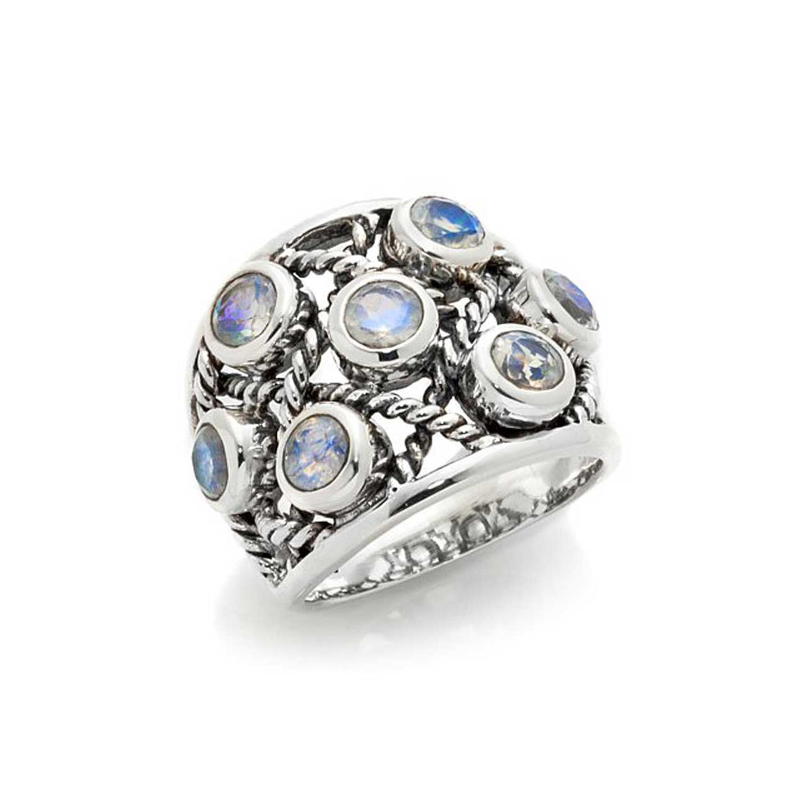 Rainbow Moonstone Multi Gemstone Ring