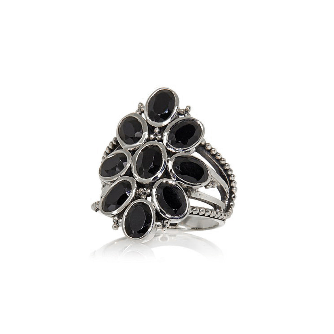 Black Spinel Multi Stone Ring