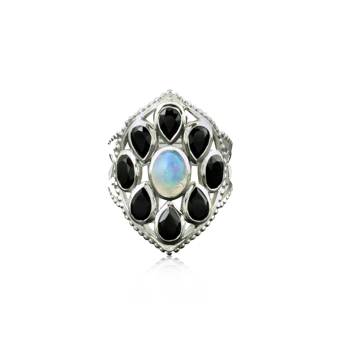 Ethiopian Opal and Black Spinel Ring