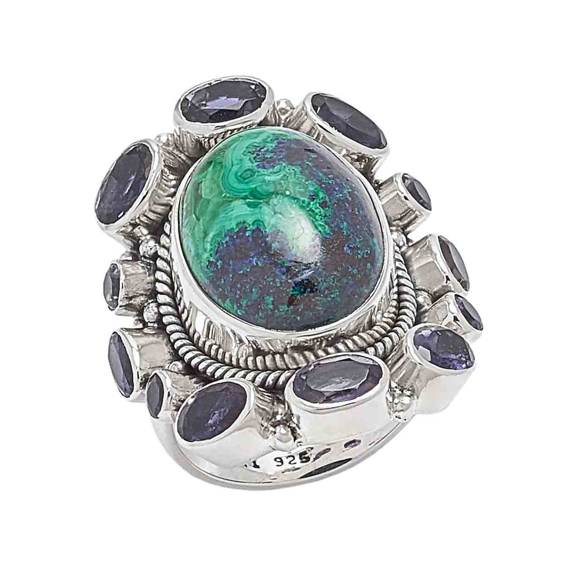 Azurite and Iolite Ring
