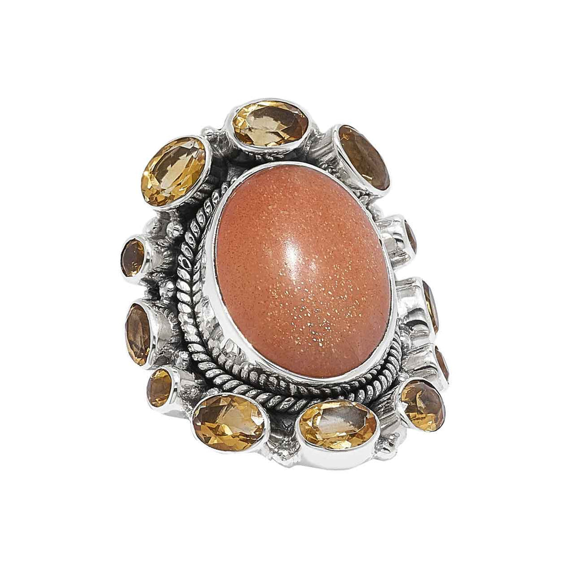 Sunstone and Citrine Ring