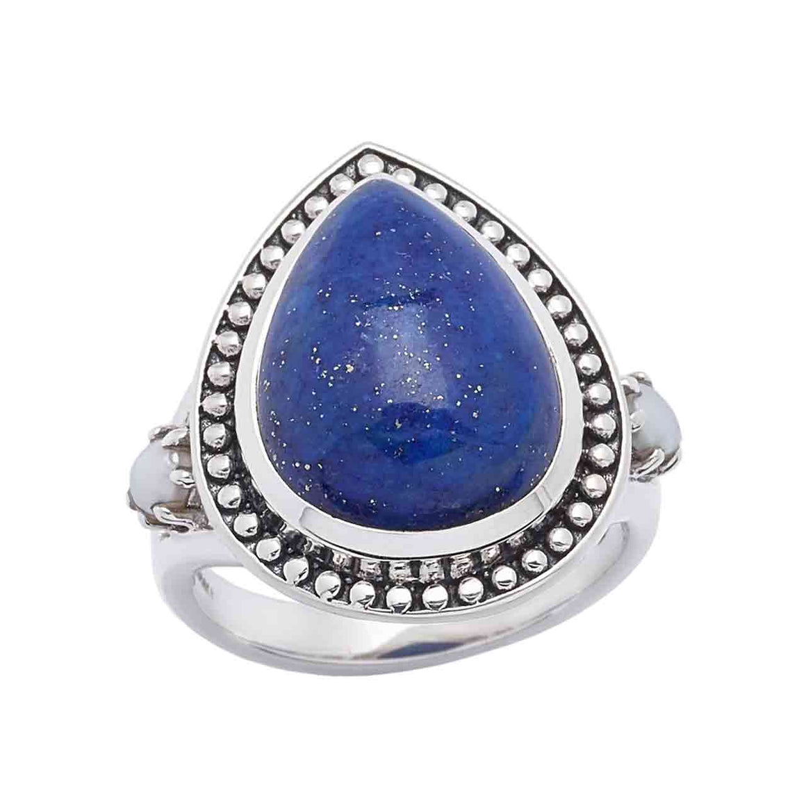 Lapis and Freshwater Pearl Gemstone Ring