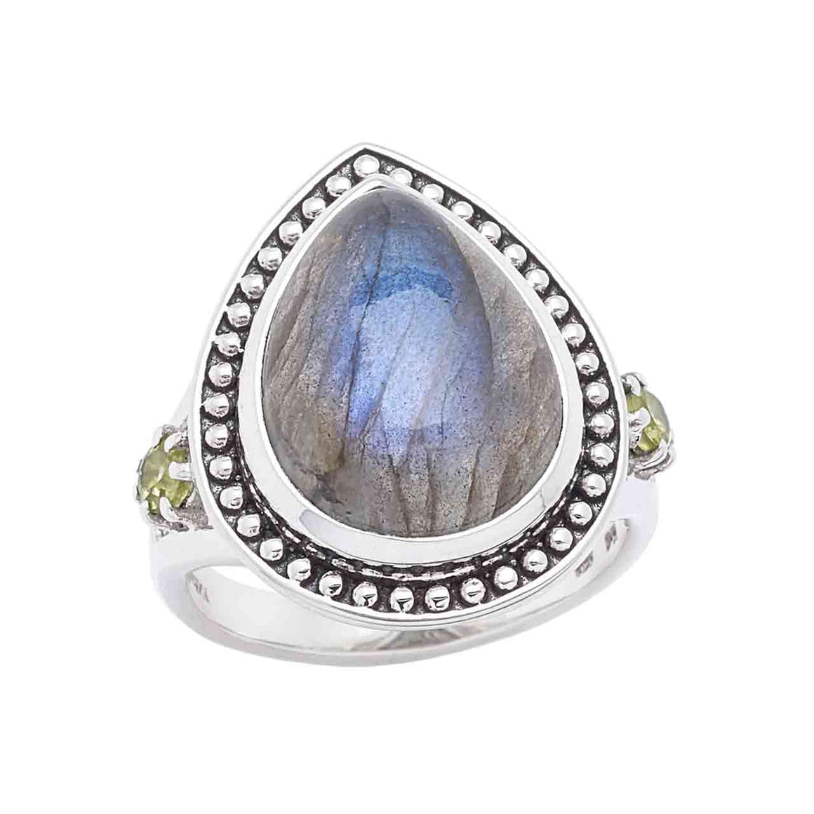 Labradorite and Peridot Gemstone Ring