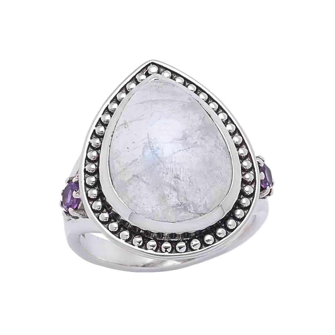Rainbow Moonstone and Amethyst Gemstone Ring