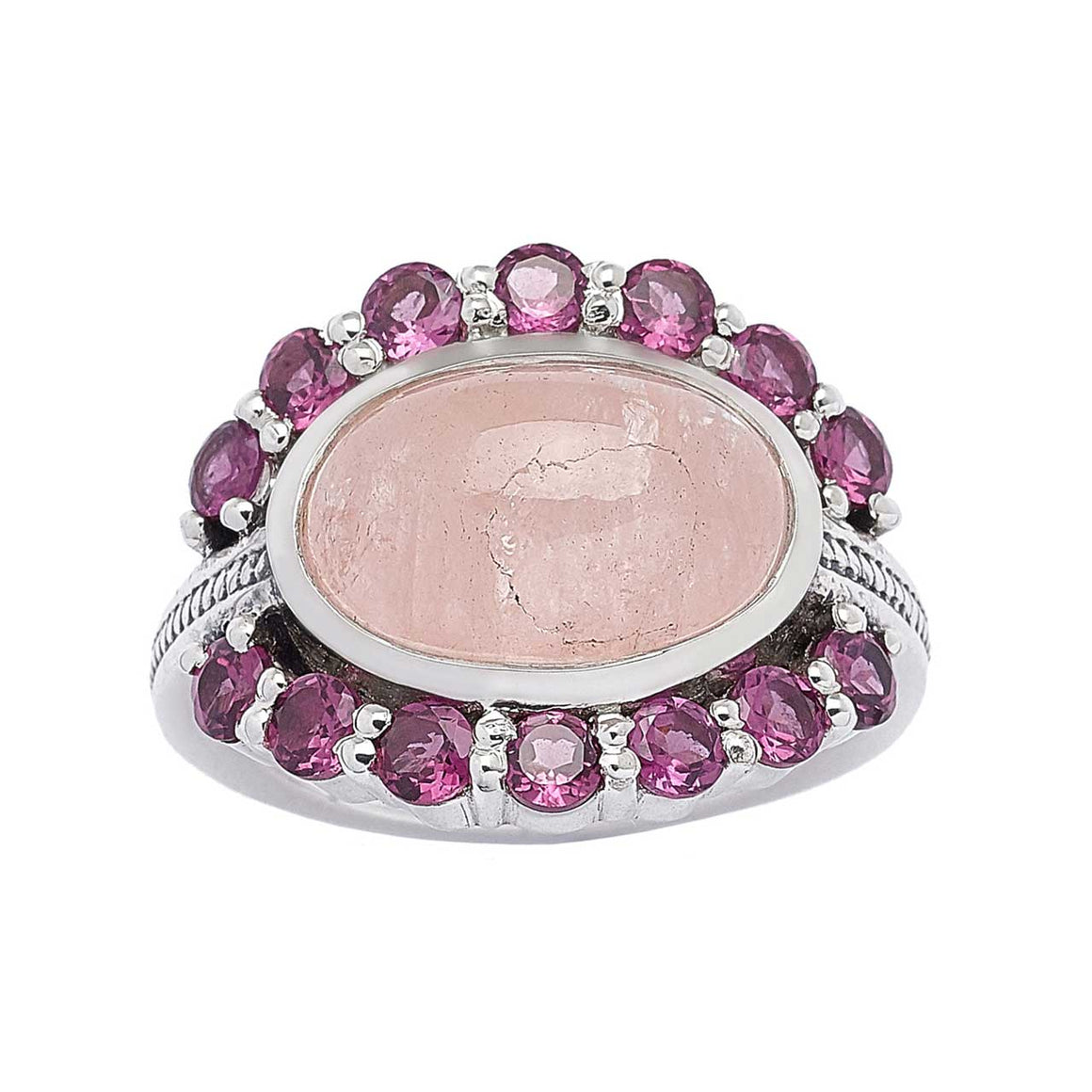 Morganite and Rhodolite Garnet Ring