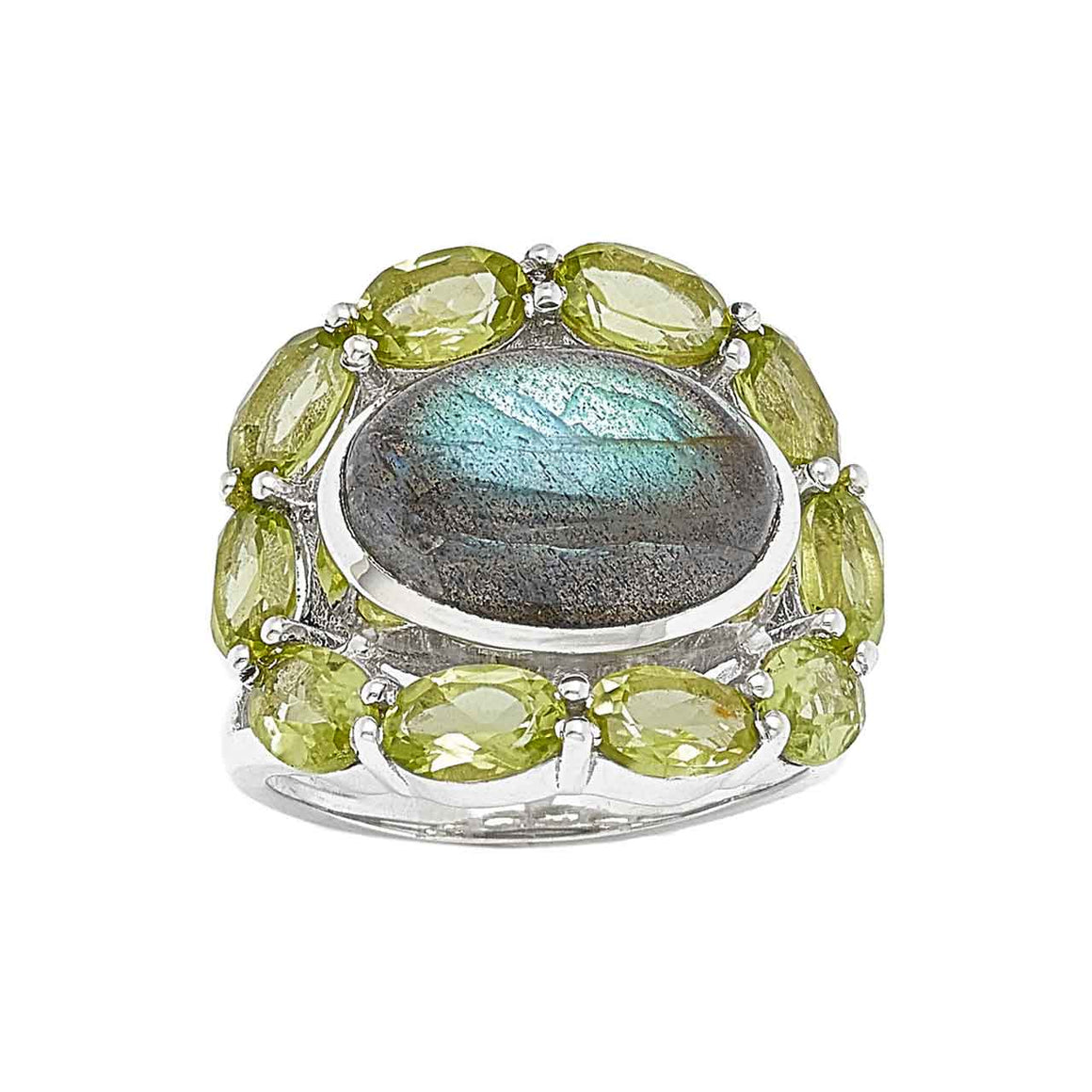 Labradorite and Faceted Peridot Ring
