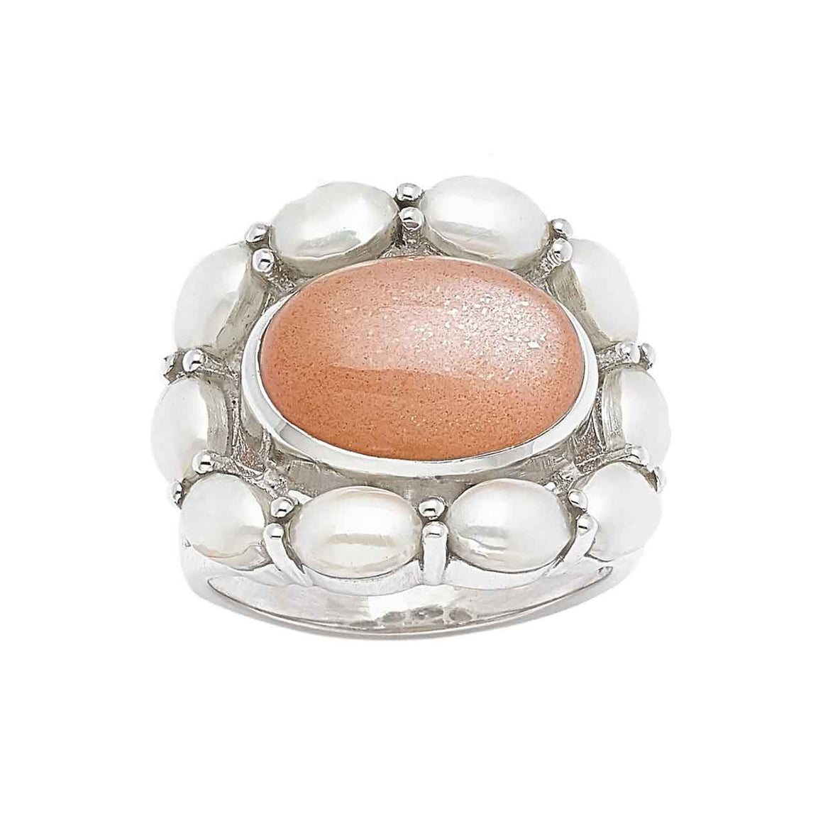 Peach Moonstone and White Pearl Ring