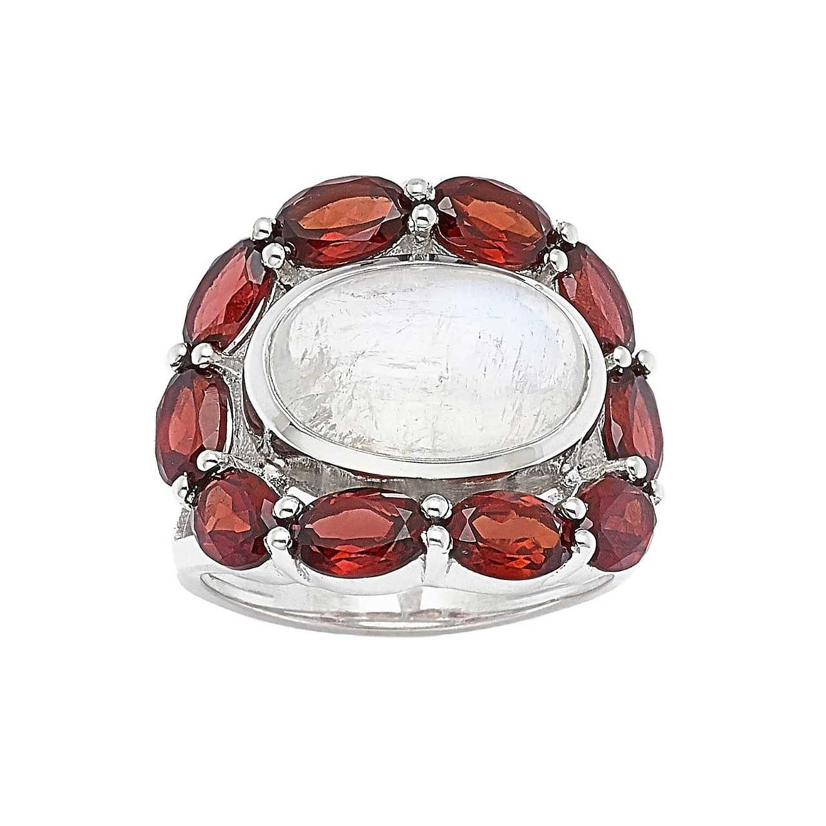 Rainbow Moonstone and Garnet Ring