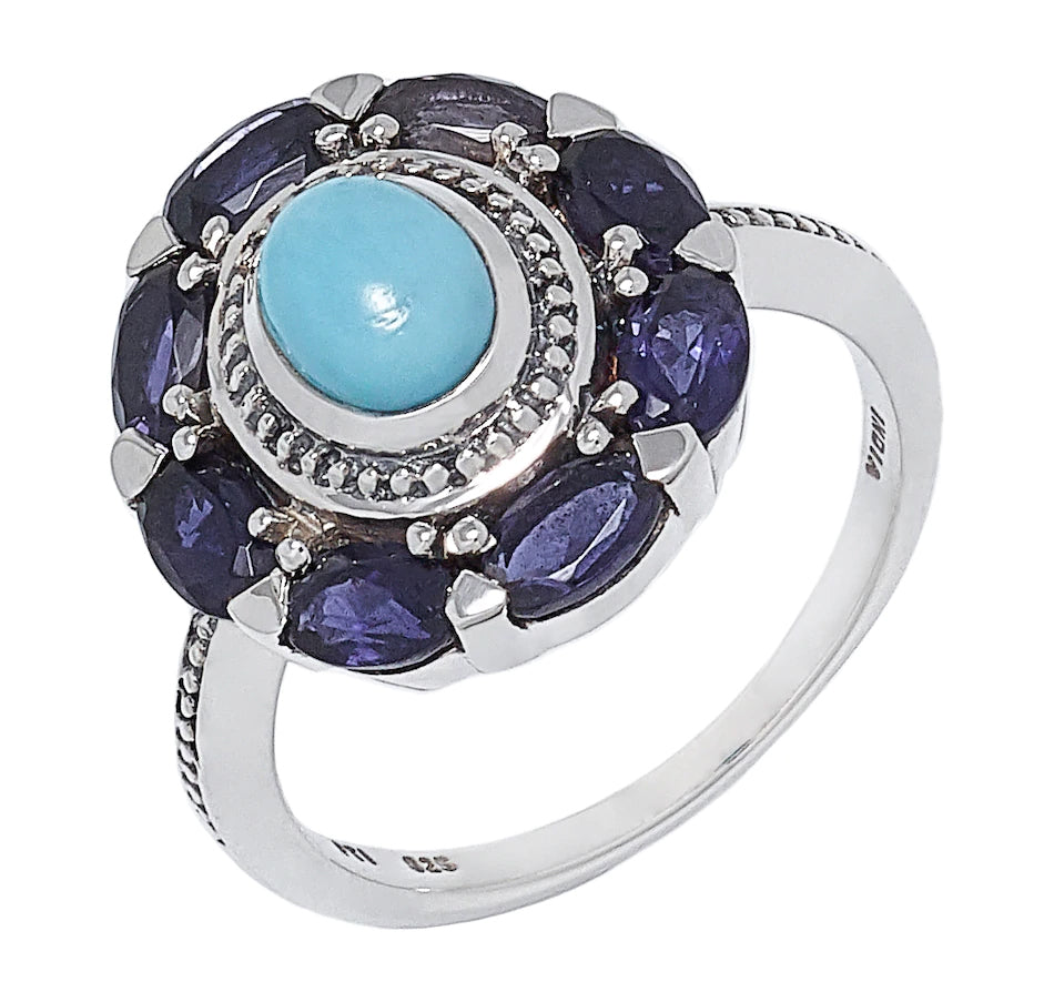 Sterling Silver Sleeping Beauty Turquoise and Iolite Ring
