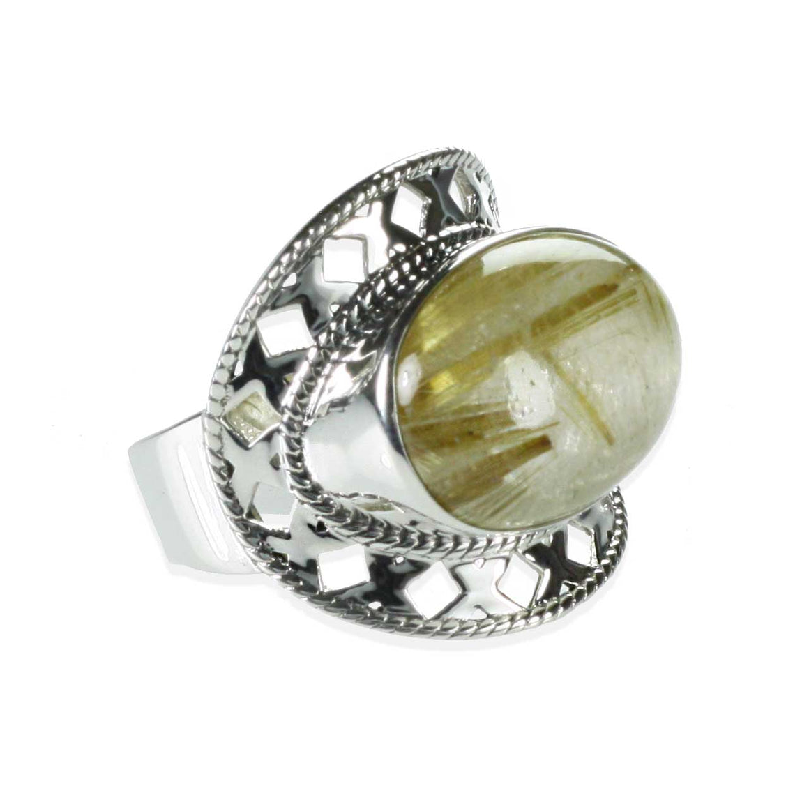Golden Rutilated Quartz Lattice Ring