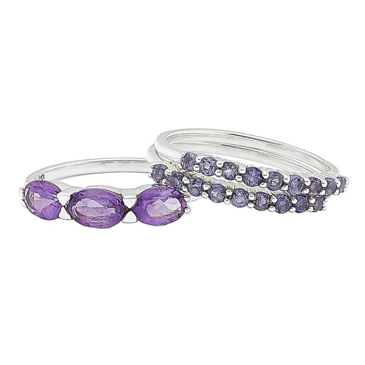 Iolite & Amethyst Stackable Ring