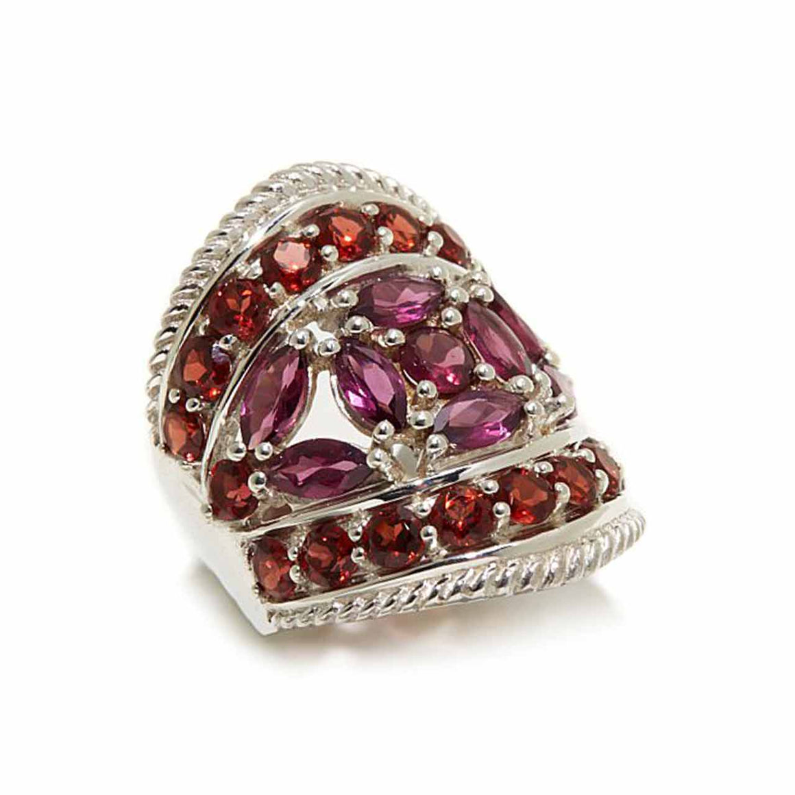Rhodolite and Garnet Pavé Set Ring