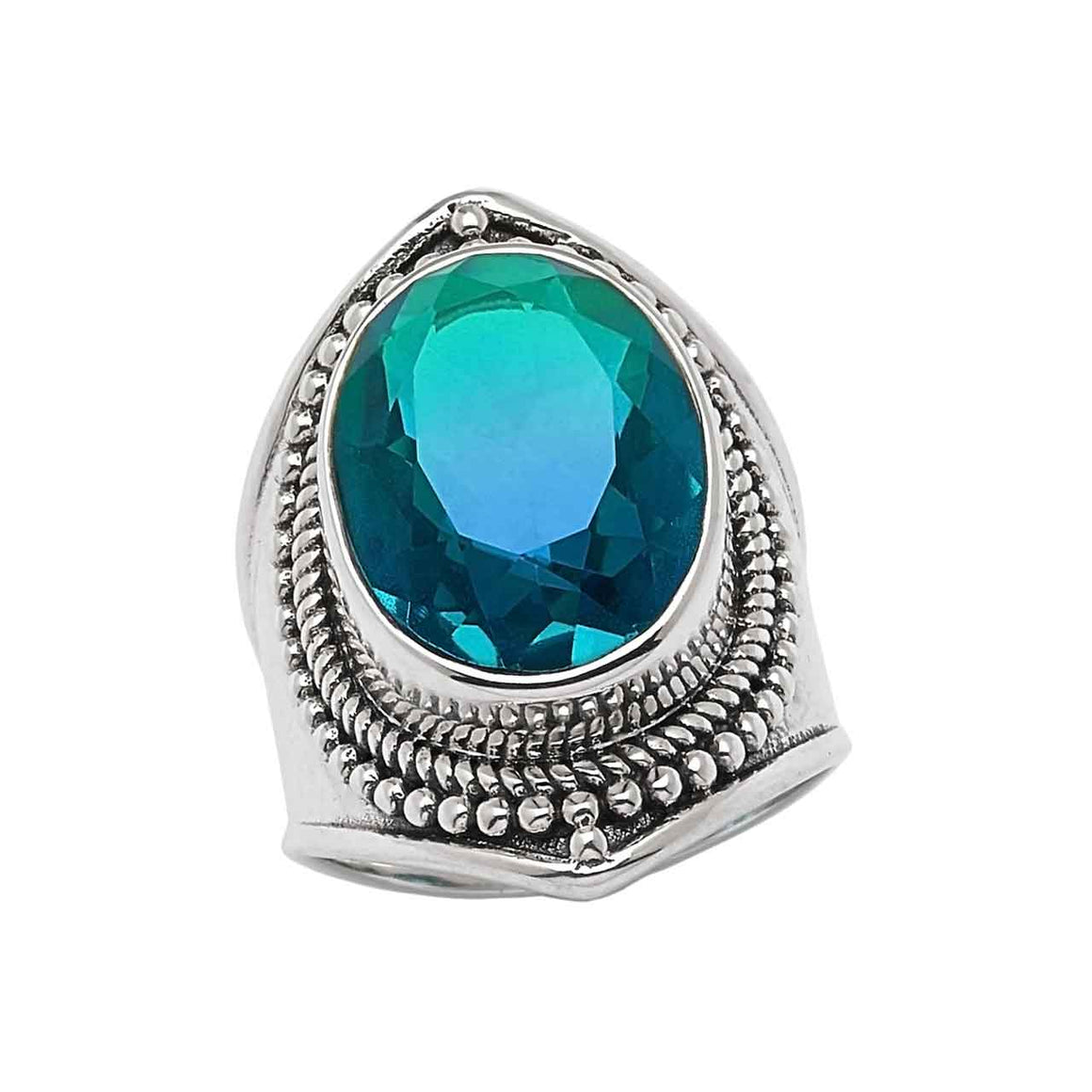 Bi Colour Blue Quartz Ring