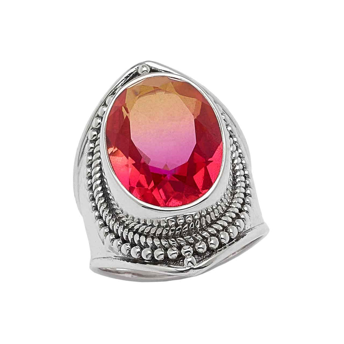Bi Color Pink Quartz Ring