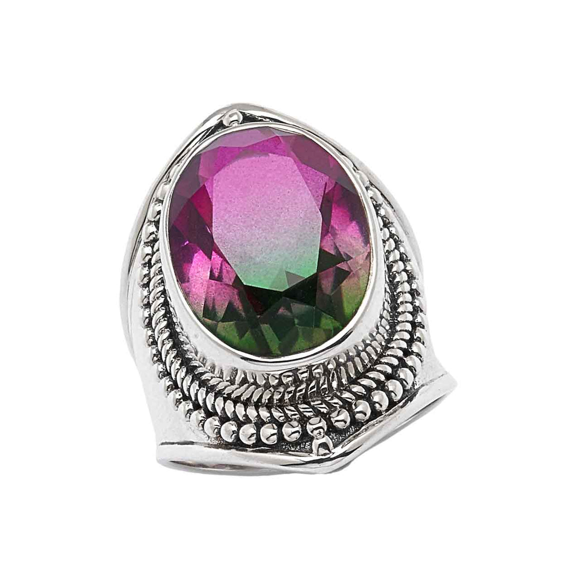Bi Colour Watermelon Quartz Ring