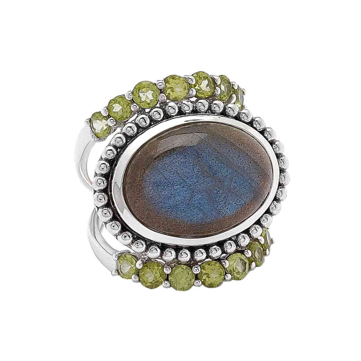 Labradorite and Peridot Ring