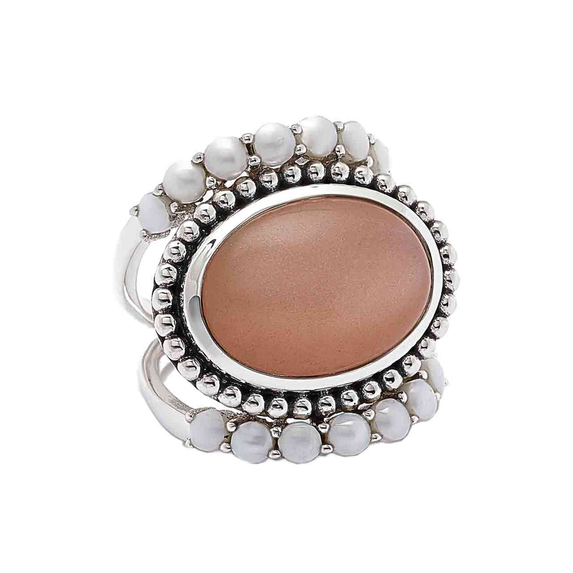 Peach Moonstone and Freshwater Pearl Ring