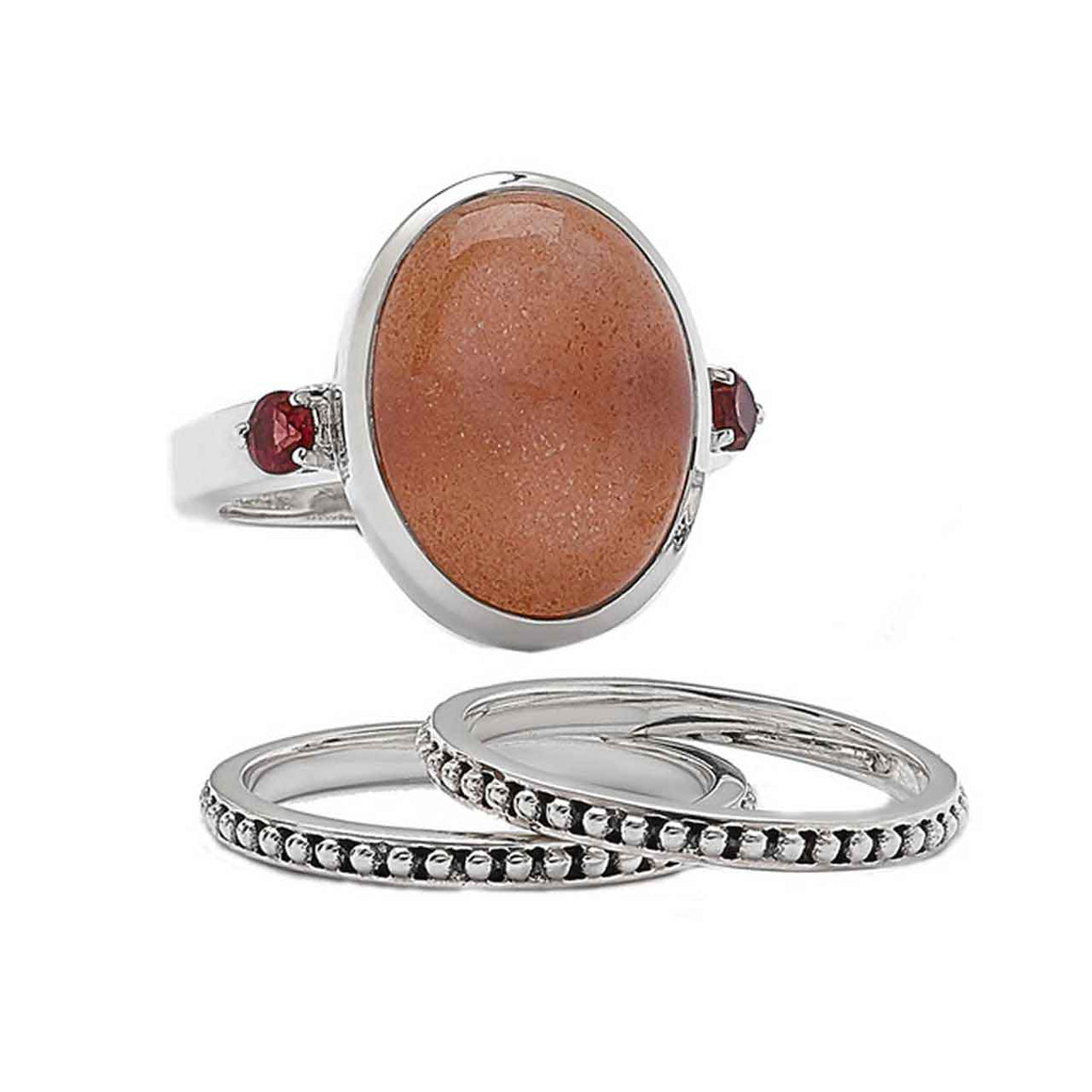 Peach Moostone and Garnet Ring