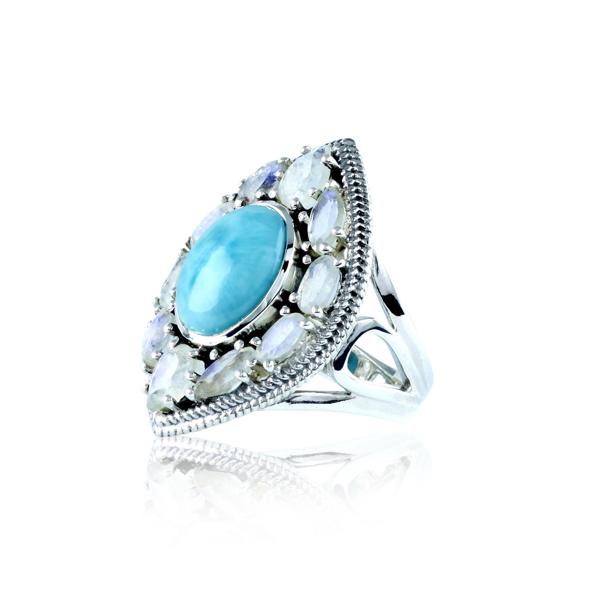 Larimar and Rainbow Moonstone Ring