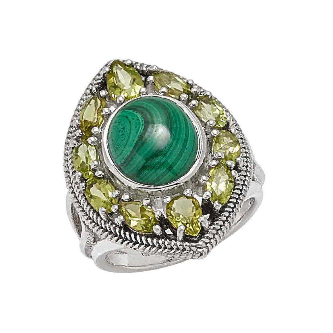 Malachite and Peridot Ring