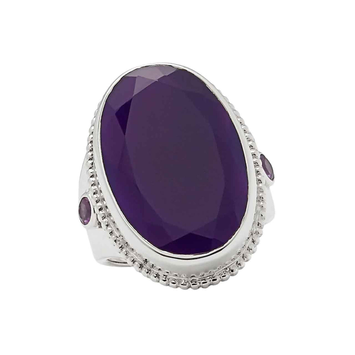 Dark Purple Chalcedony and Amethyst Ring